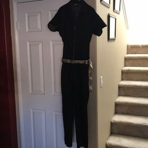 Jumpsuit with a leopard belt rhinestones